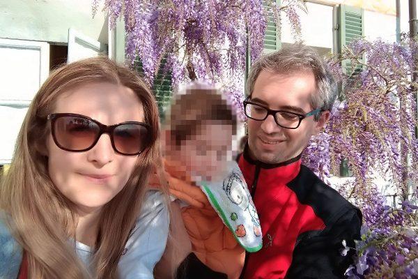 Agnieszka Stokowiecka e Patrick Creux insieme al figlio