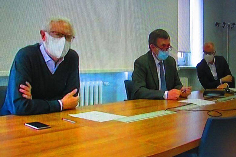 Pier Eugenio Nebiolo, Angelo Pescarmona e Marco Ottonello durante la teleconferenza stampa
