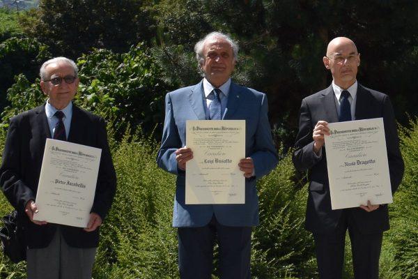 Tre dei nuovi Cavalieri: Pietro Iacobellis, Luigi Busatto e Nicolò Dragotto