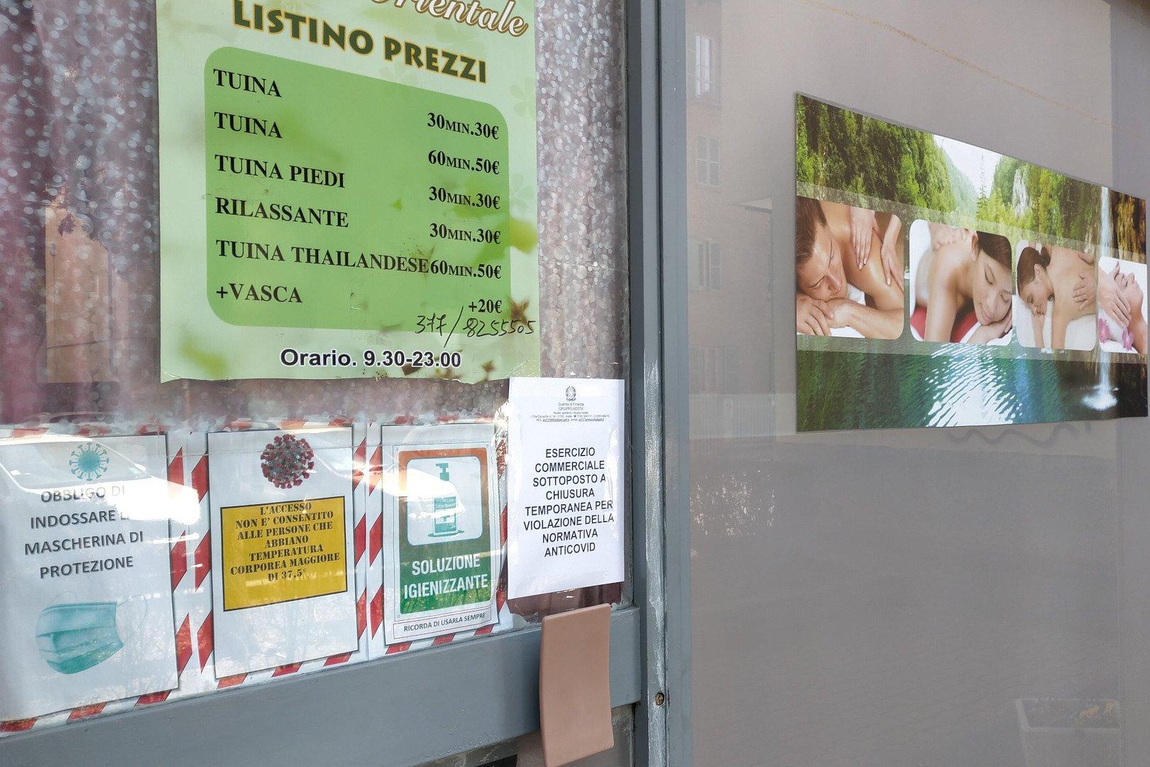 Sei centri massaggi sanzionati e chiusi dalla Guardia di Finanza ad Aosta: «gravi carenze igieniche ed assenza del registro per la tracciabilità dei clienti»