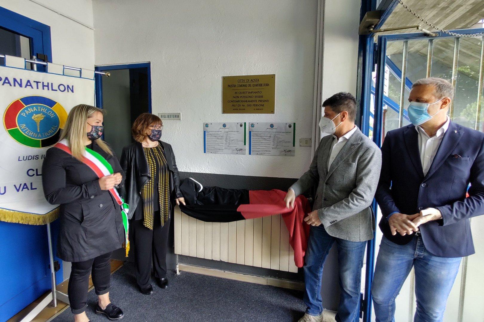 Josette Borre ed Alina Sapinet con Piercarlo Lunardi e Jean Dondeynaz