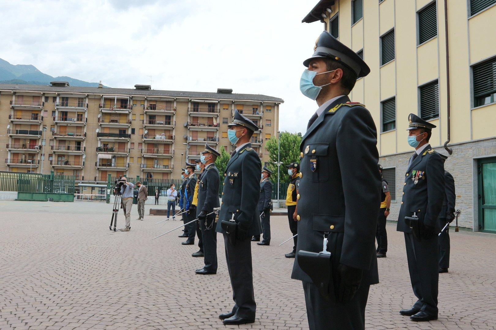 I finanzieri di Aosta durante le celebrazioni del 247° anniversario della Guardia di Finanza