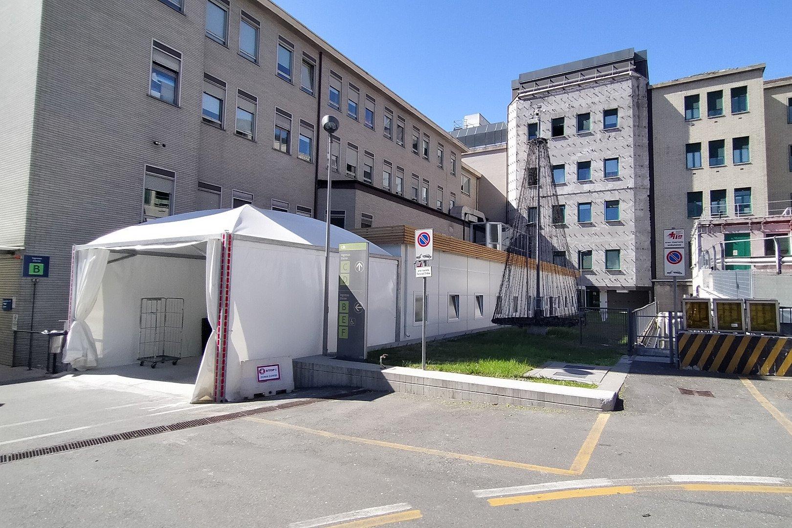 La zona del 'triangolo covid' dell'ospedale 'Parini' di Aosta
